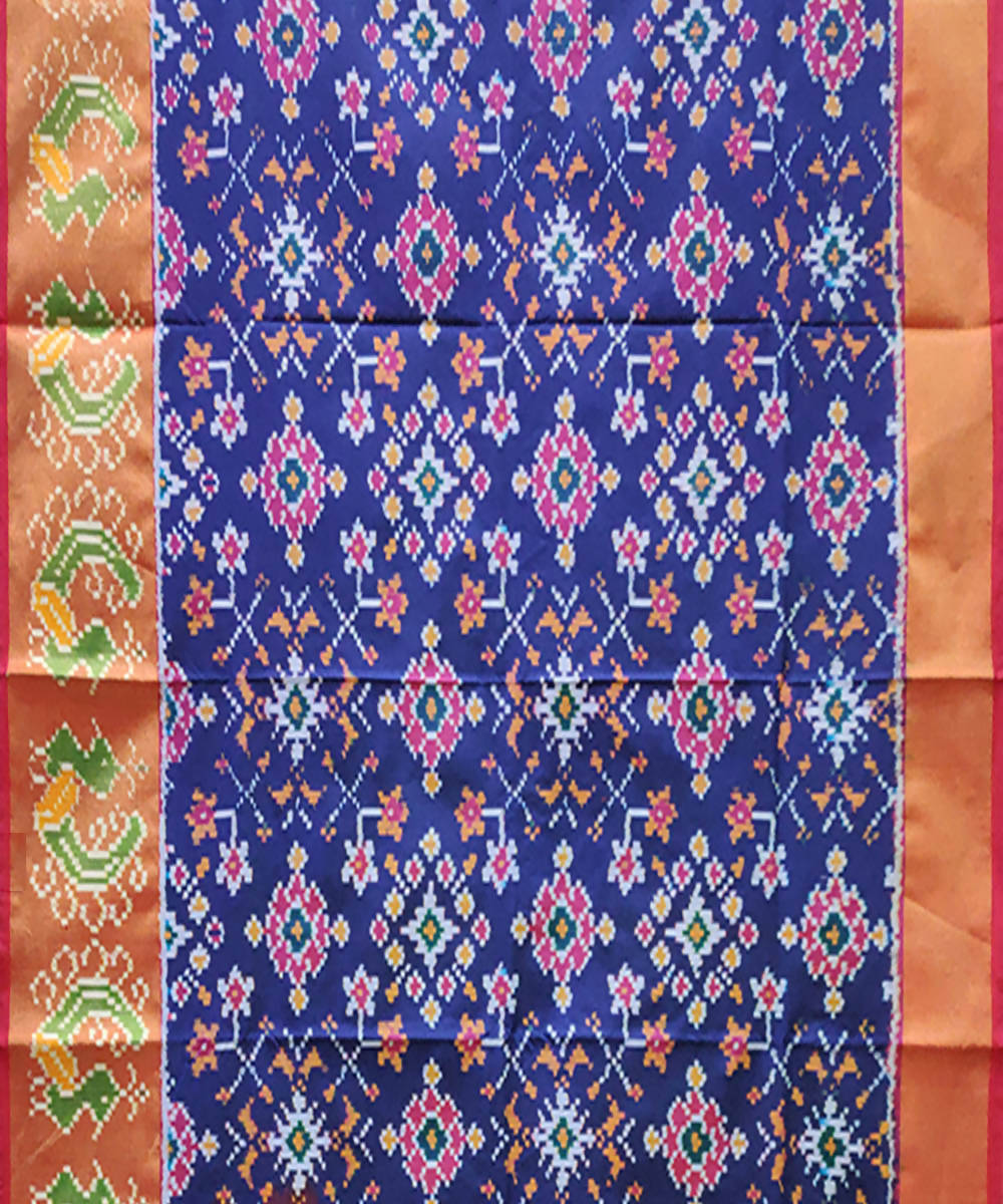 Royal Blue handwoven pochampally ikkat silk lehanga material