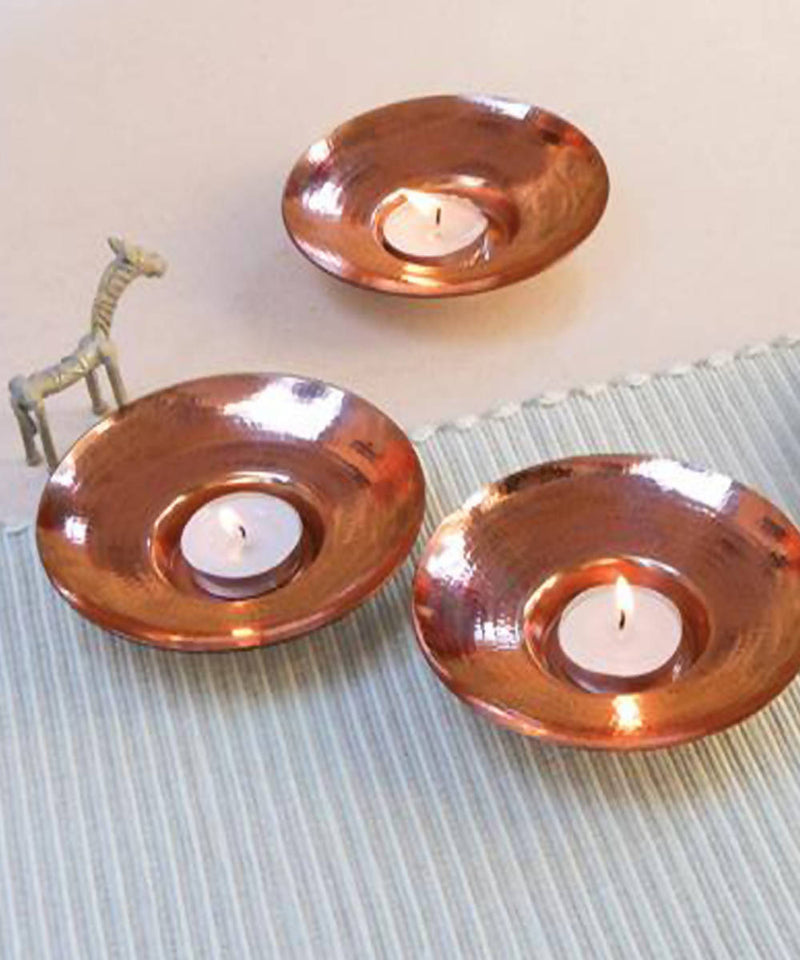Handmade circular copper diya teal light