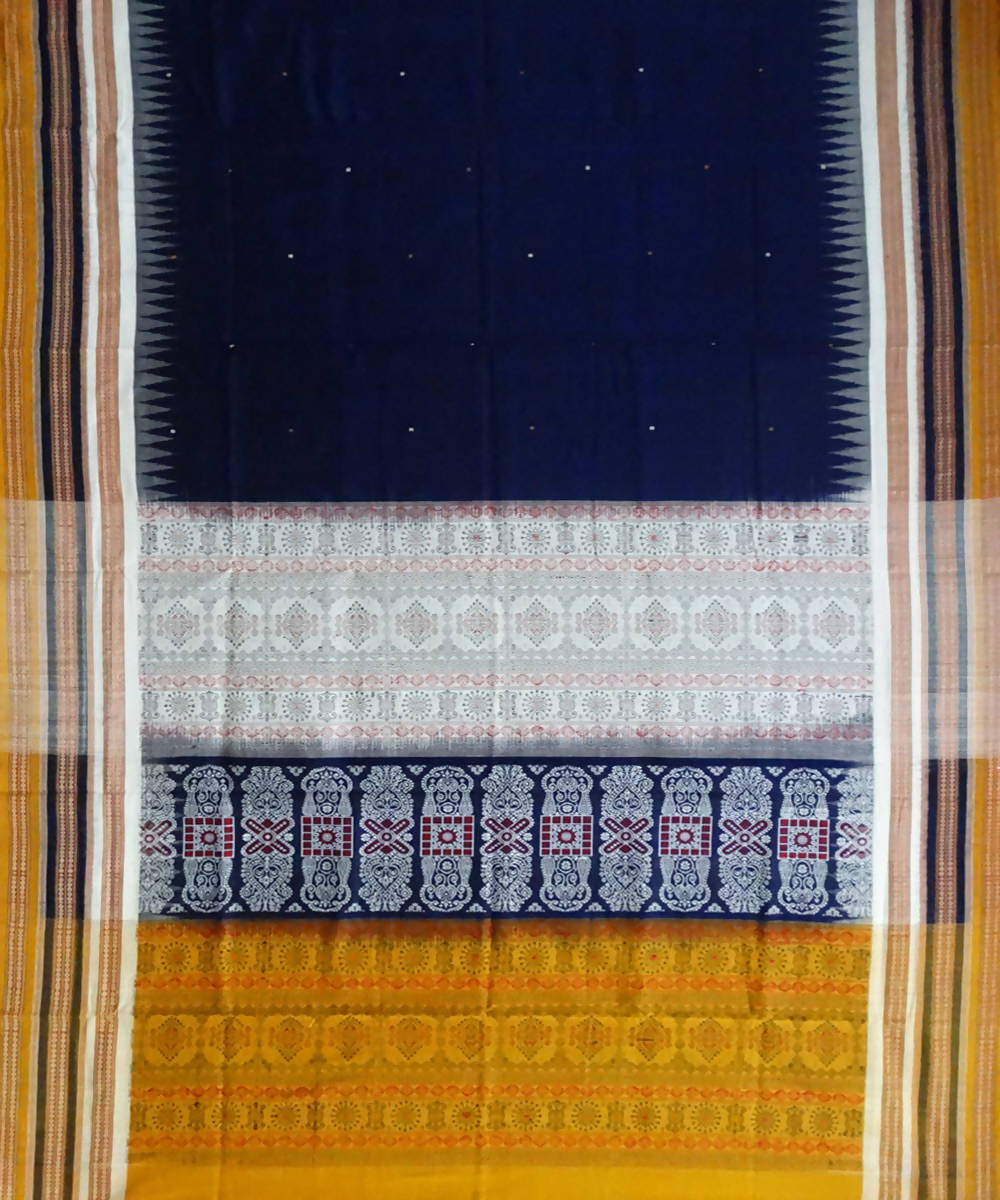 Duke Blue Handwoven Bomkai Cotton Saree