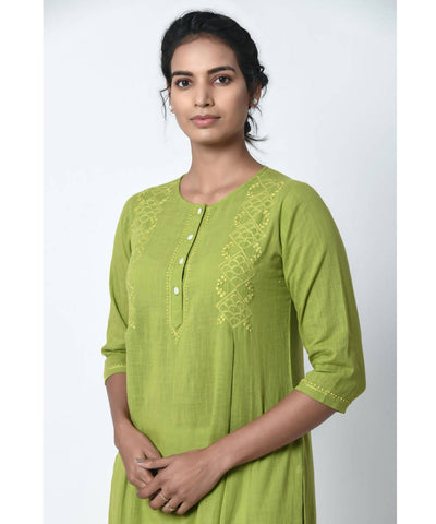 Chikankari Hand Embroidered Mint Green Cotton Kurta