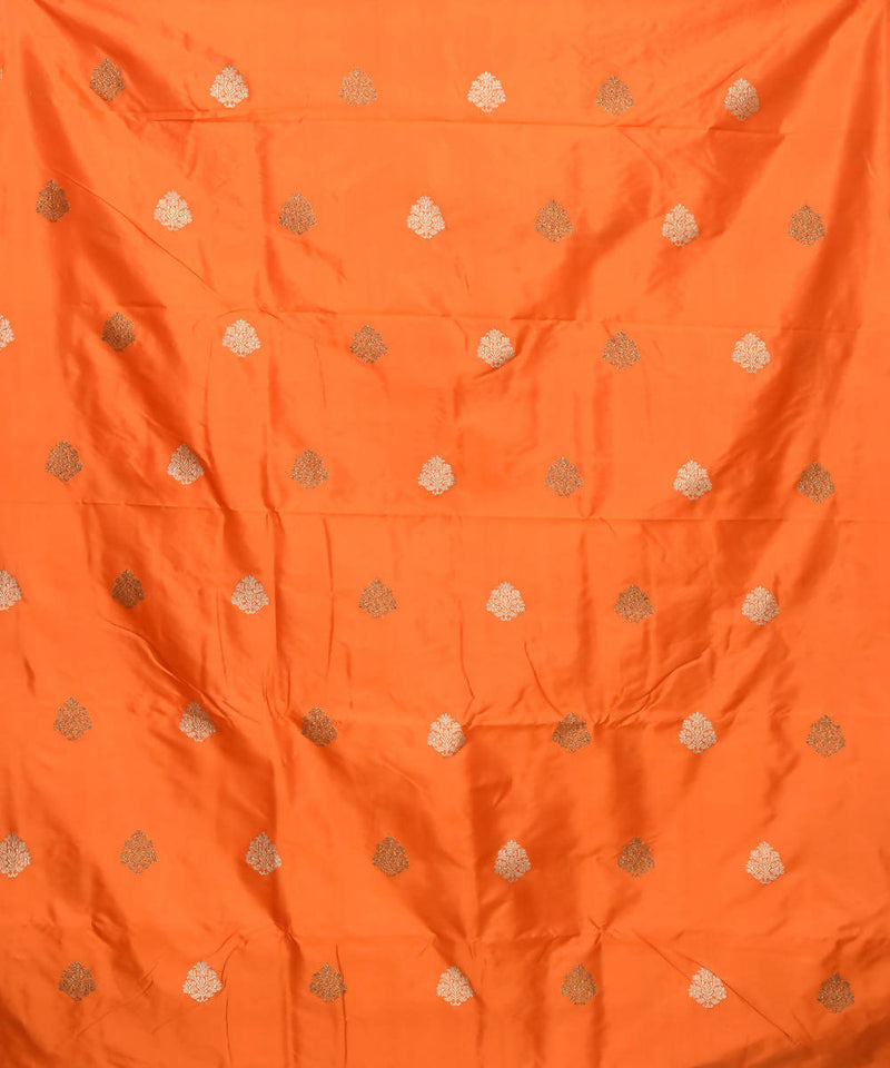 Banarasi Orange Handloom Silk Fabric