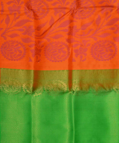 Orange Green Handloom Soft Silk Saree