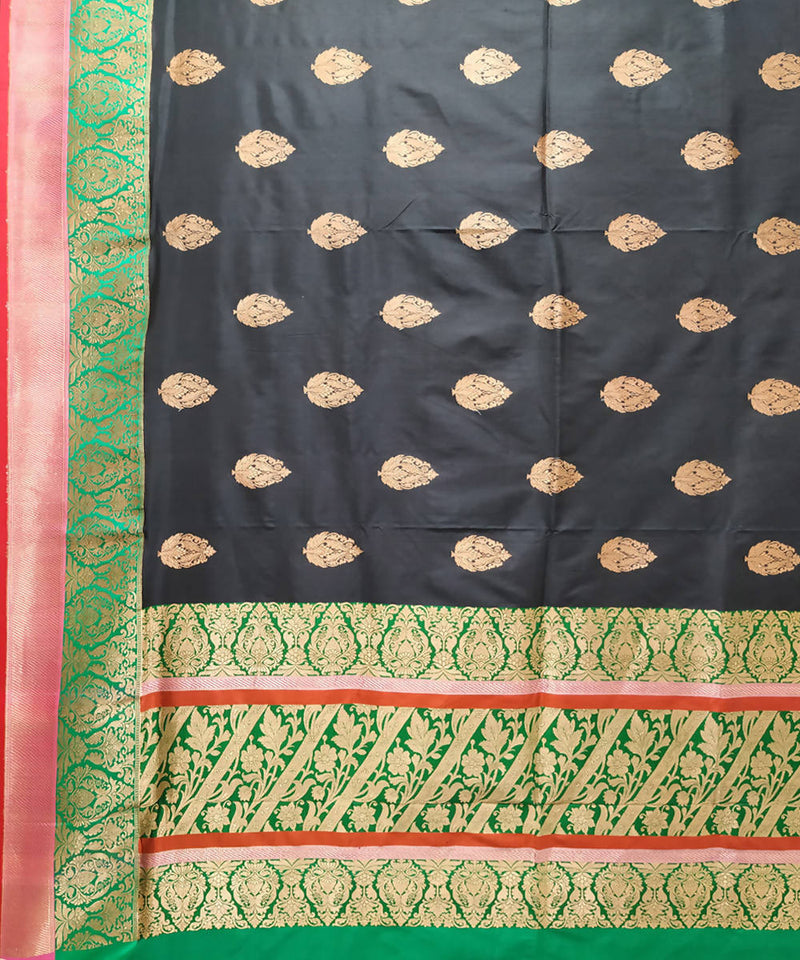 Black and green handloom katan silk banarasi saree