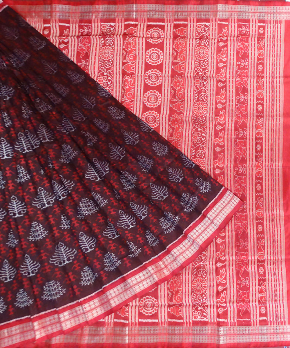 Chocolate brown Ashwini ikat handloom Saree