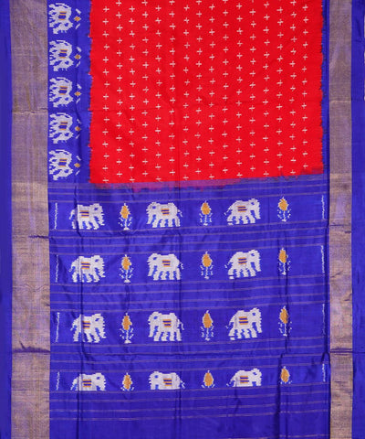 Dark Red Blue Handloom Ikkat Silk Saree