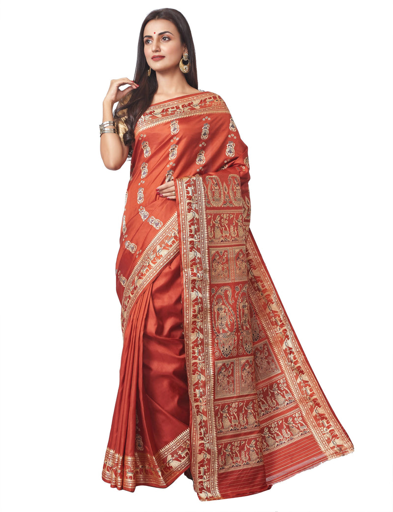 Biswa Bangla Handloom Baluchari Silk Saree with Mina Work- Rust
