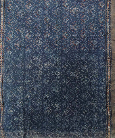 wine red Ajrakh Handblock print on blue Handloom Cotton zari Saree