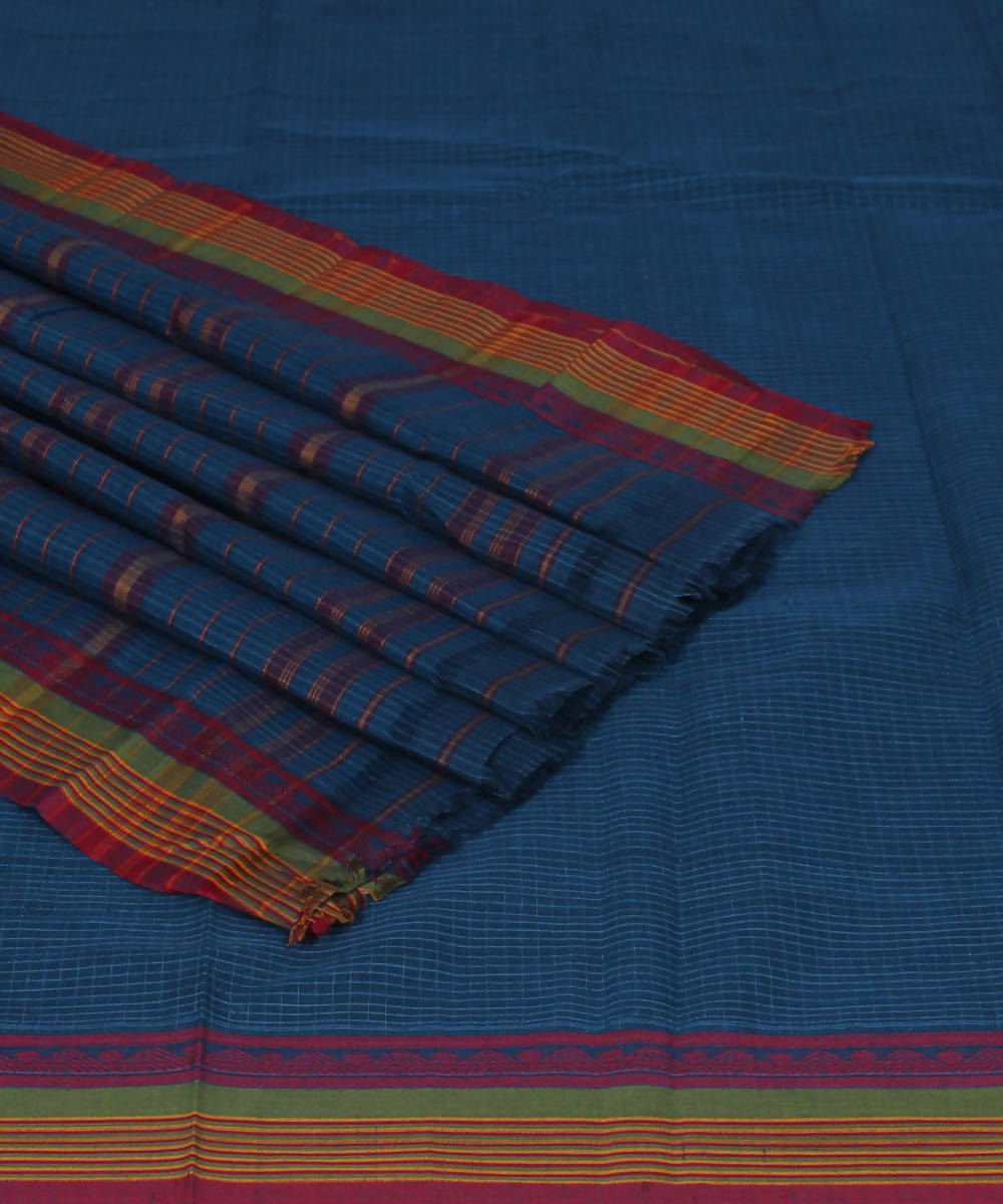 Handloom Blue Narayanpet Cotton Saree