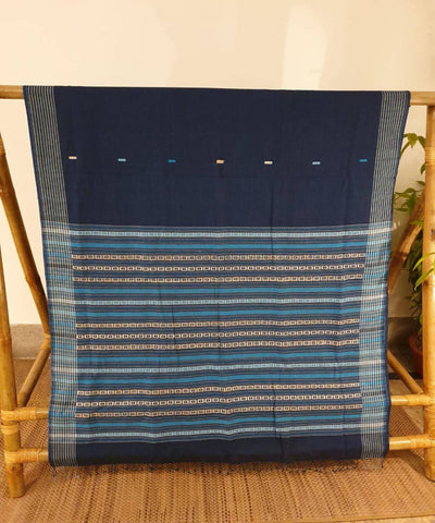 Deep blue assam handloom cotton and ghiccha saree