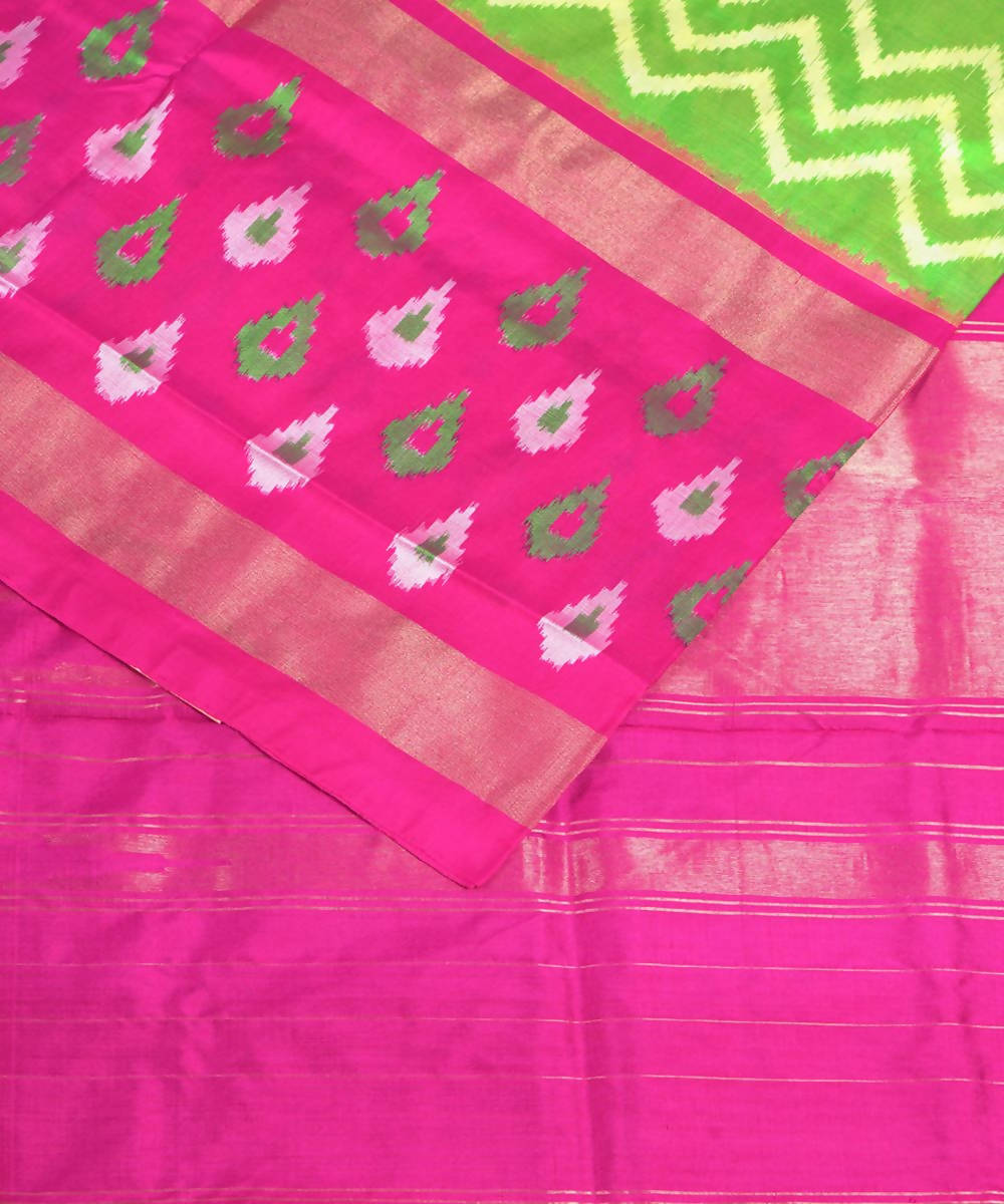 Parrot Green Handloom Ikkat Silk Saree
