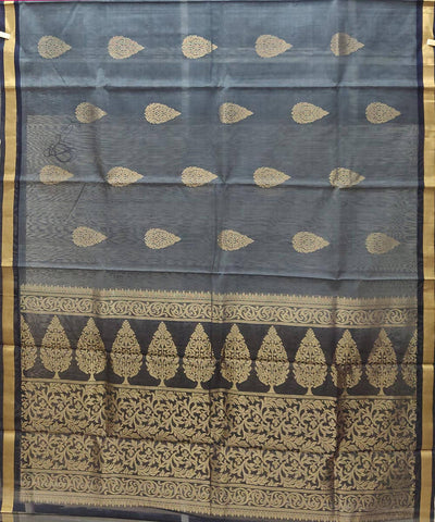 Grey Black Handloom Silk Cotton Saree