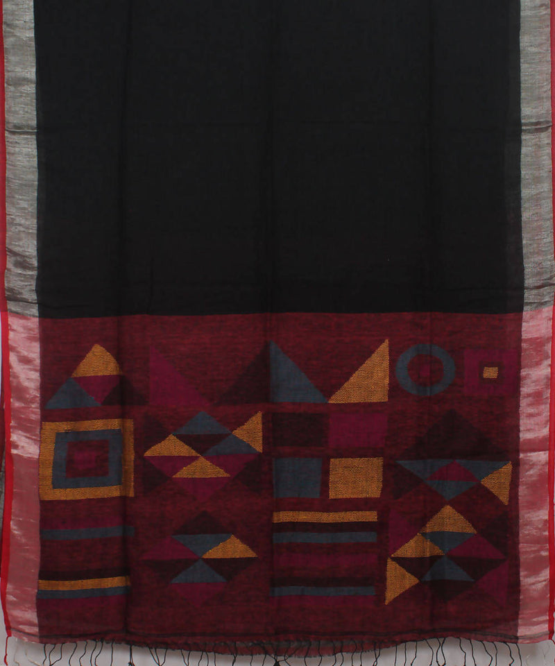 Bengal Handwoven Black Linen Saree