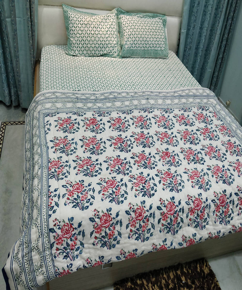 Floral White Handblock Printed Cotton Quilt