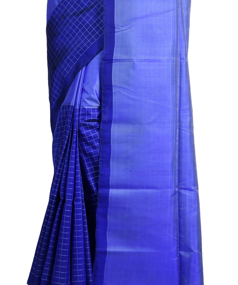 Resham shilpi bengal blue silk saree with handwoven design
