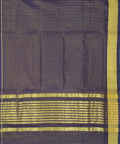 Dark Grey zari checks Handwoven Cotton Venkatagiri Saree
