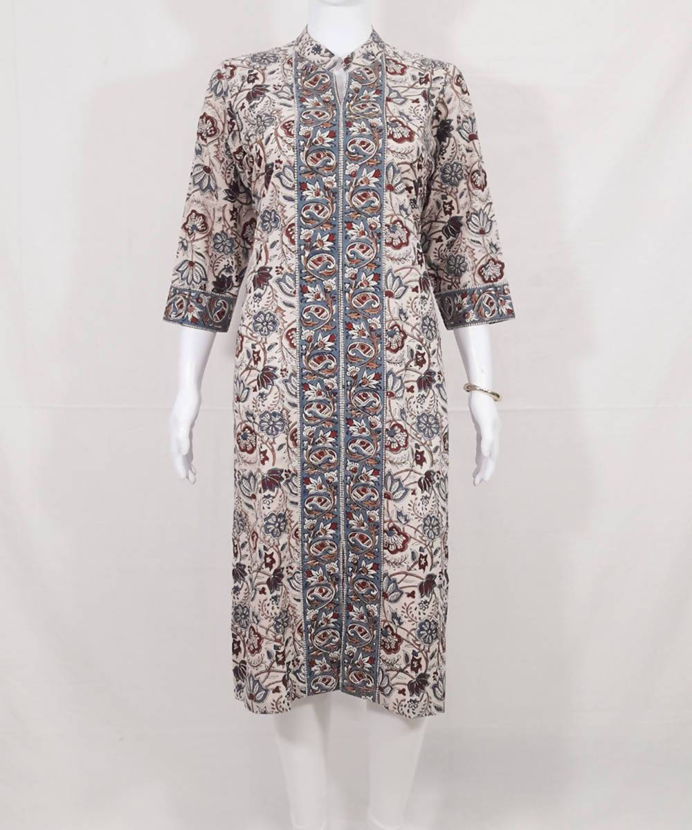 Multicolor handblock printed cotton kurti