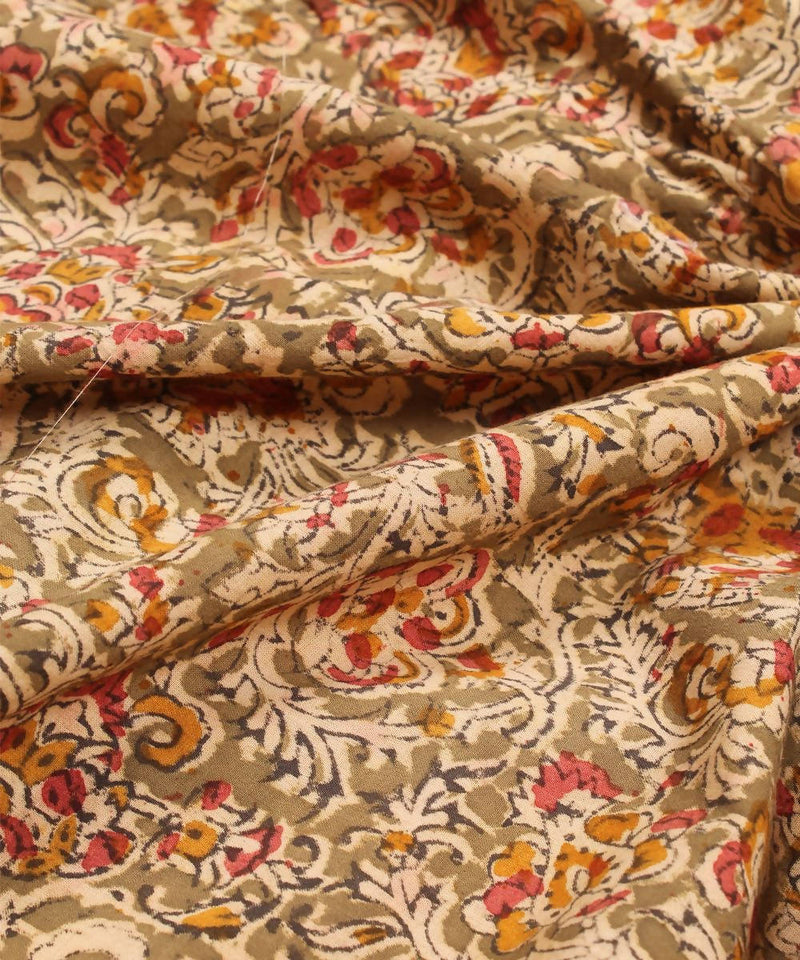 Handblock grey green cotton kalamkari fabric