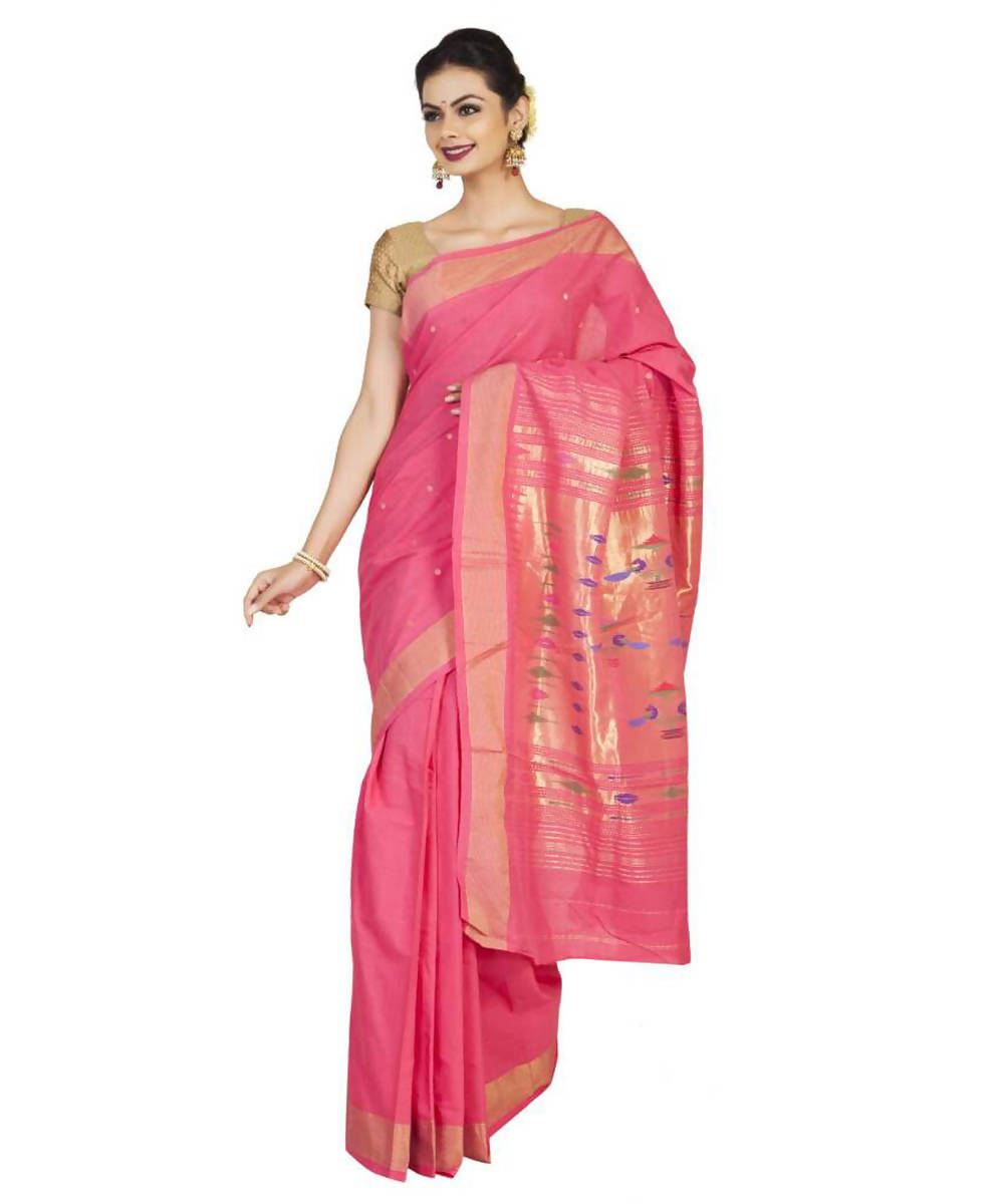 Peach Pink Handloom Paithani Cotton Saree
