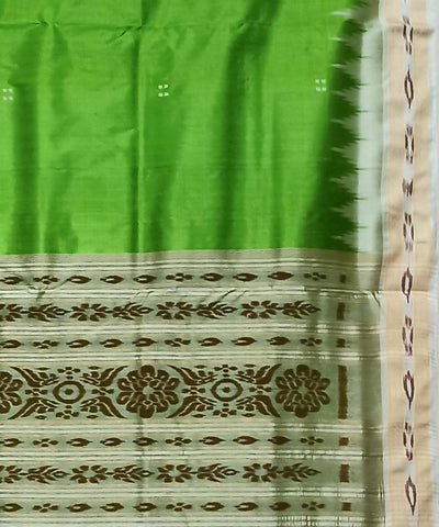 Perrot Green and Offwhite Handwoven Khandua Silk Saree