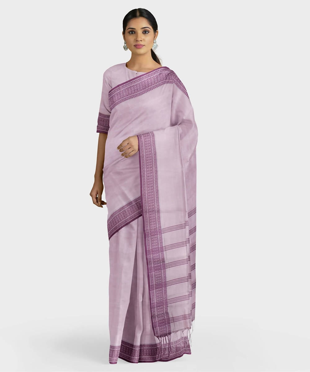 Biswa bangla handwoven mauve santipuri silk saree