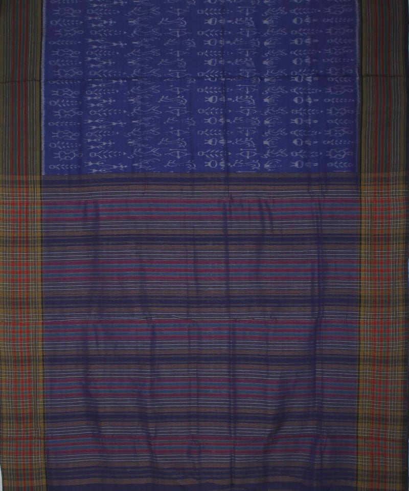 Navy Blue Nuapatana Cotton Ikat Saree