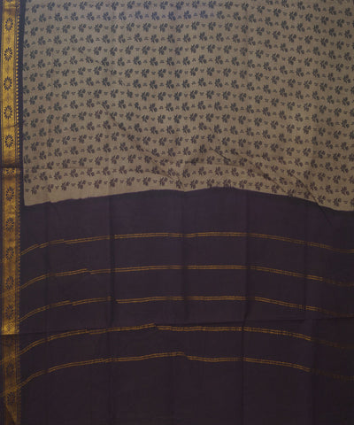 Sungudi Grey Brown Cotton Madurai Saree