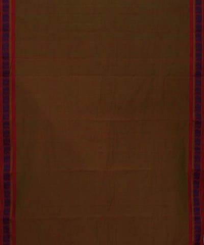 Kanchi Brown Peach Handwoven Cotton Saree