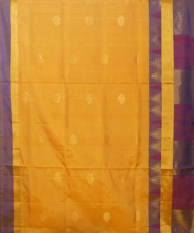 Yellow and Blue Handloom Soft Silk Saree
