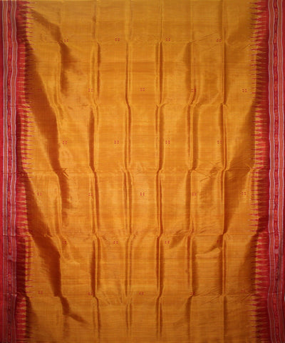 Handwoven Khandua Silk Saree of Nuapatna in Golden and Red