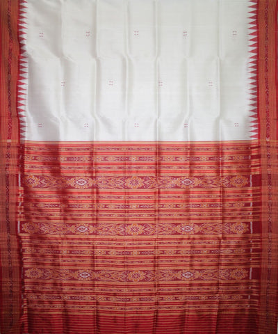 Handwoven Khandua Silk Saree of Nuapatna in White and Red
