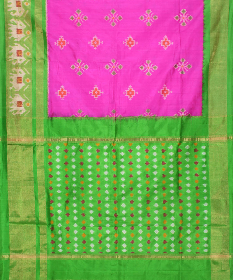 Pink Green Handwoven Pochampally Silk Saree