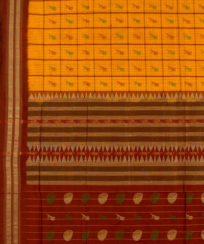 Yellow Maroon Checked Bomkai Silk Ikat Saree