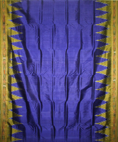 Handwoven Khandua Silk Saree of Nuapatna in Blue and Mehendi Green