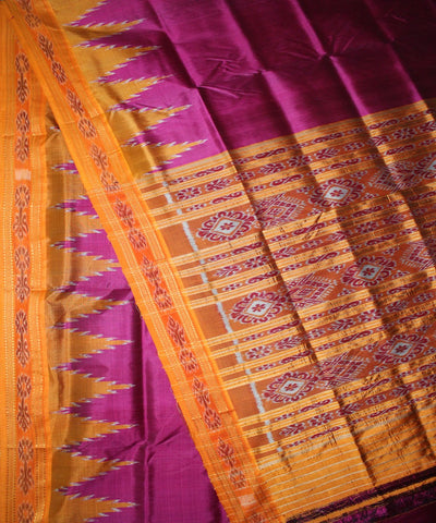 Handwoven Khandua Silk Saree of Nuapatna in Pink and Orange