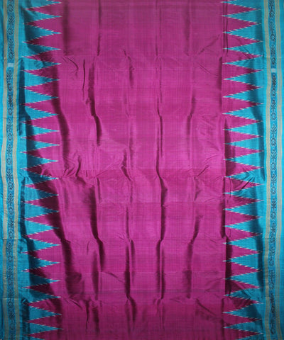 Handwoven Khandua Silk Saree of Nuapatna in Byzantine and Dodger Blue