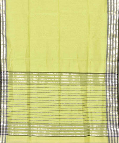 Handwoven Lime Yellow Maheshwari Sico Saree