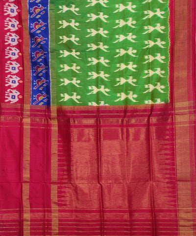Mehendi Green Handwoven Ikkat Silk Saree