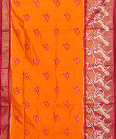 Dark Orange Pink Handloom Ikkat Silk Saree