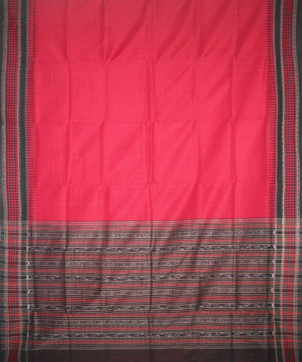 Handwoven Sambalpuri Ikat Cotton Saree in Maroon and Black