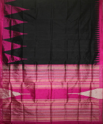 Handwoven Bomkai Silk Saree of Sonepur in Black and Deep Pink