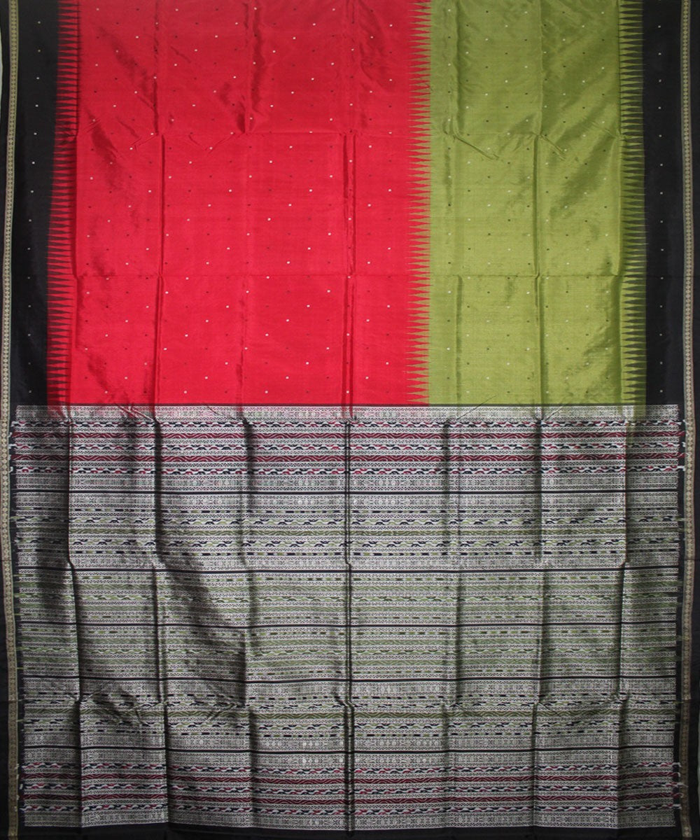 Handwoven Bomkai Silk Saree of Sonepur in Red and Black