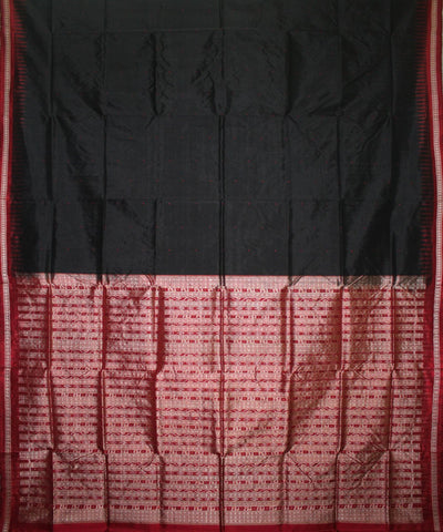 Handwoven Bomkai Silk Saree of Sonepur in Black and Maroon