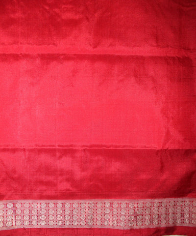 Handwoven Bomkai Silk Saree of Sonepur in Ash Grey and Red
