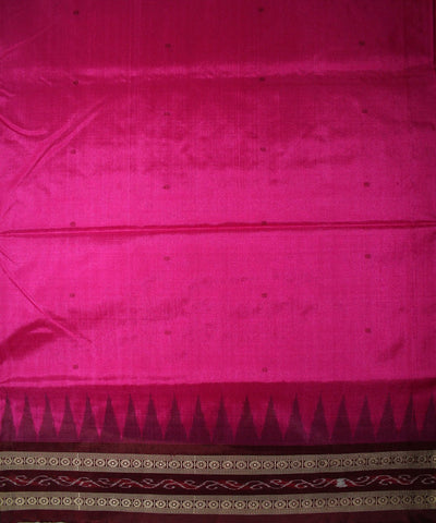 Handwoven Bomkai Silk Saree of Sonepur in Deep Pink and Coffee