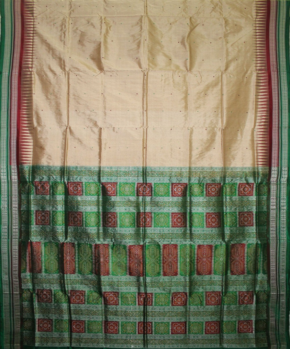 Handwoven Bomkai Silk Saree of Sonepur in Cream and Parrot Green