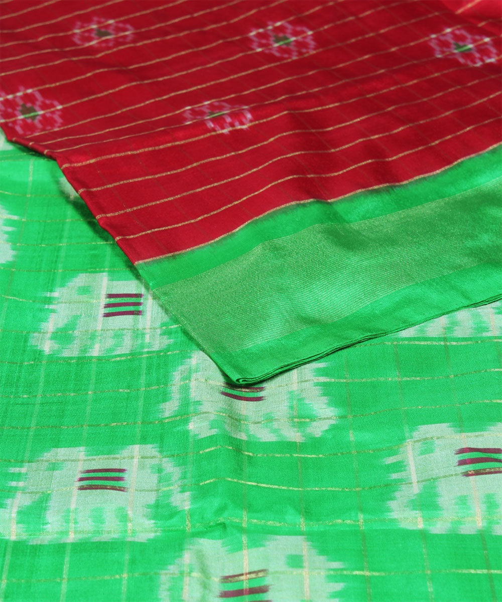Red Green Handloom Ikkat Silk Saree