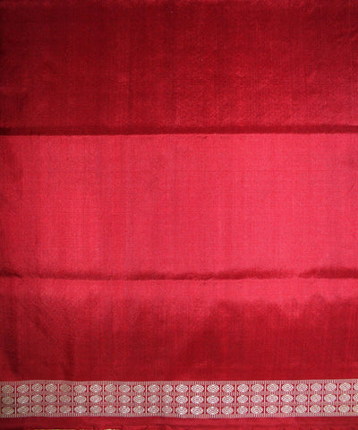 Handwoven Bomkai Silk Saree of Sonepur in Dodger Blue and Red