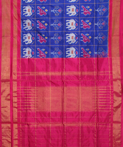 Elephant Motif Blue Handloom Ikkat Silk Saree