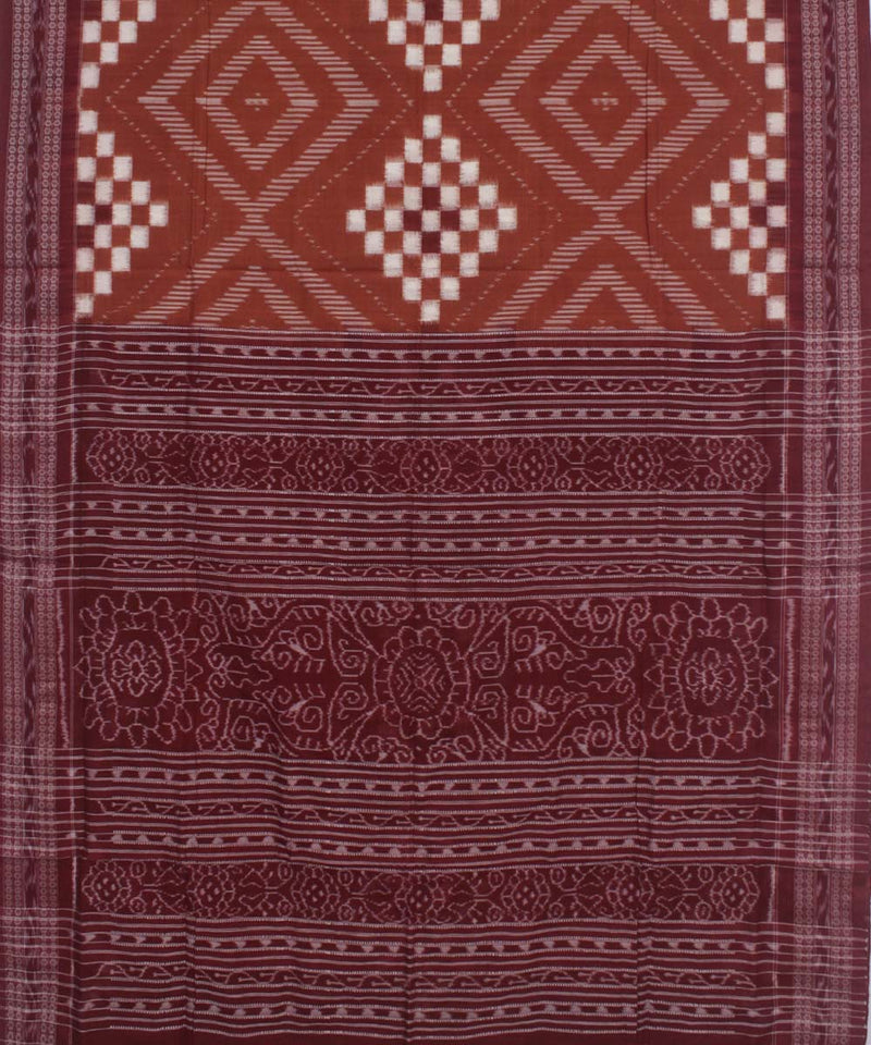 Brown Maroon Handloom Sambalpuri Cotton Saree