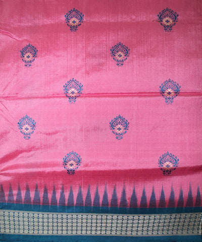 Handwoven Bomkai Silk Saree of Sonepur in Amaranth Pink and Dodger Blue